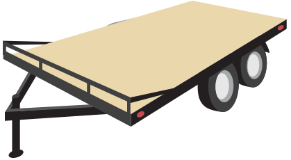 Flat, open trailer generally used for heavy hauling that's designed with the wheels underneath the deck of the trailer to allow for the maximum possible loading width.