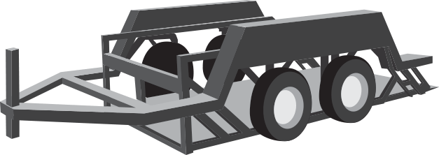 An open platform semi-trailer with two deck levels, with the lower deck ideal for hauling taller loads. Also known as Step Deck or Lowboy trailers.
