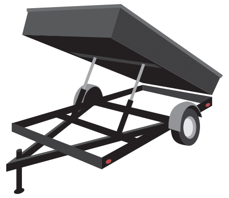 Flatbed trailer with partial sides and hydraulic lift. Used for carting and dumping materials such as gravel, dirt, yard debris, and basically anything else you can possibly think of.