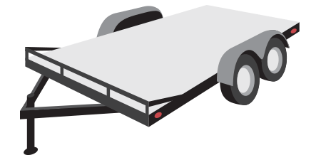 Open trailer typically used for hauling a single car, small equipment, or ATVs, often equipped with ramps or a dove-tail.