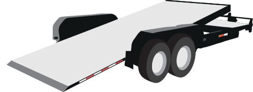 This trailer is used for hauling cars and other vehicles and has a tilting deck for ease of loading and unloading.