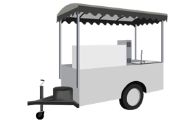 Smaller cart-type trailer usually used to prepare and serve single items like hotdogs or ice cream.